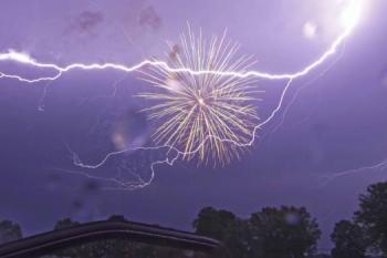 fireworks during a lightning storm