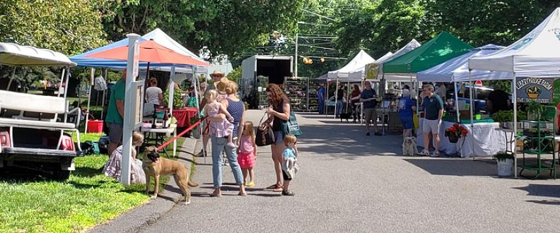 The dog parade at the Lebanon, Connecticut Farmers' Market