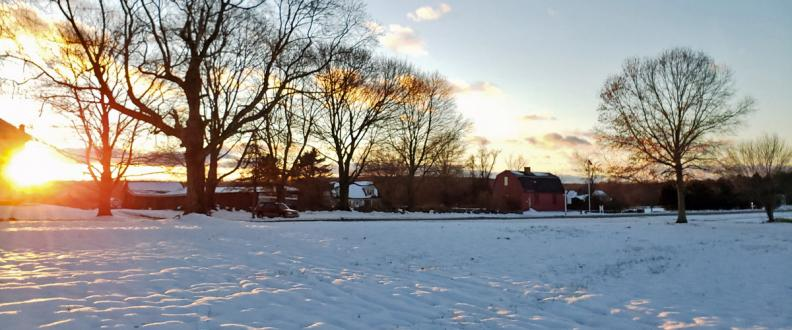 War Office and Snow at Sunset